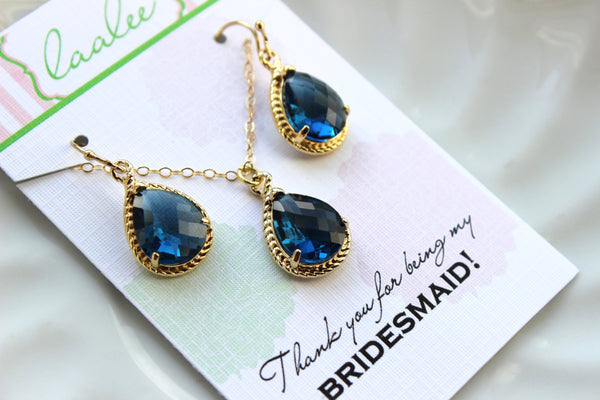 Gold Sapphire Blue Earring Necklace Set Navy Jewelry Set Sapphire Wedding Jewelry Set Bridesmaid Jewelry Bridal Gift Personalized Note Card