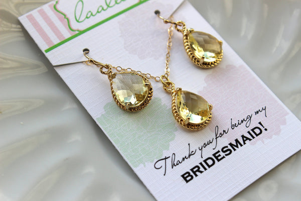 Gold Citrine Earring Necklace Set Yellow Citrine Jewelry Set - Wedding Jewelry Set Bridesmaid Jewelry Bridal Gift Personalized Note Card