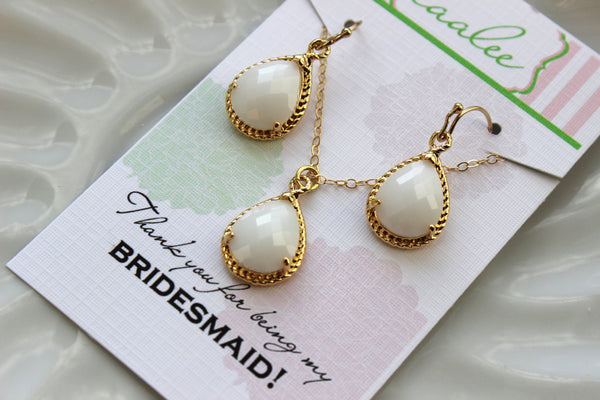 Gold White Opal Earring Necklace Set Cream Milk Jewelry Set - Wedding Jewelry Set Bridesmaid Jewelry Bridal Gift Personalized Note Card