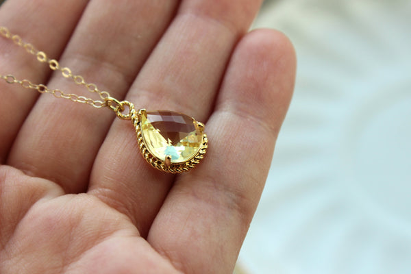 Gold Citrine Yellow Necklace - Citrine Wedding Necklace Jewelry Bridesmaid Gift Jewelry Yellow Bridal Jewelry Topaz Bridesmaid Gift Under 30