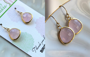 Gold Pink Opal Earrings Blush Wedding Jewelry Light Pink Bridesmaid Earrings Gift Blush Pink Bridal Jewelry Personalized Gift Under 25