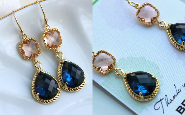 Gold Blush Earrings Sapphire - Champagne Peach Wedding Jewelry - Pink Navy Blue Bridesmaid Earrings Gift Navy Bridal Jewelry - Gift Under 35