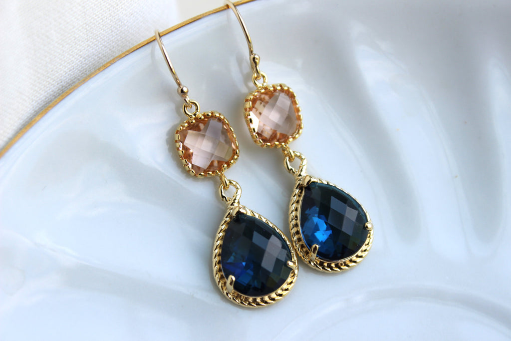 0cfe0f145c23e Gold Blush Earrings Sapphire - Champagne Peach Wedding Jewelry ...