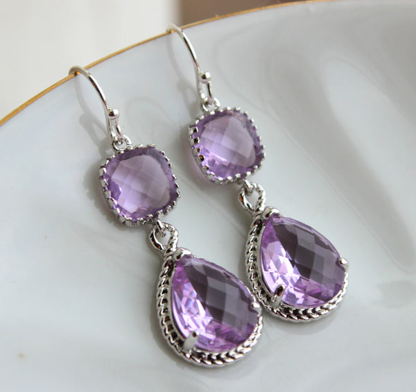 Silver Lavender Earrings Two Tiered - Purple Lilac Wedding Jewelry - Silver Lavender Bridesmaid Earrings Gift Bridal Jewelry - Gift Under 35