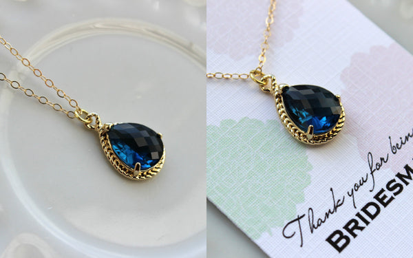 Gold Sapphire Necklace Navy Blue Wedding Necklace Jewelry Bridesmaid Gift Jewelry Sapphire Jewelry Gift Under 30 Gold Navy Blue Jewelry