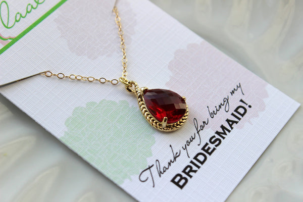 Gold Ruby Necklace Red Wedding Necklace Jewelry Bridesmaid Gift Jewelry Ruby Red Jewelry Gift Under 30 Gold Ruby Red Jewelry
