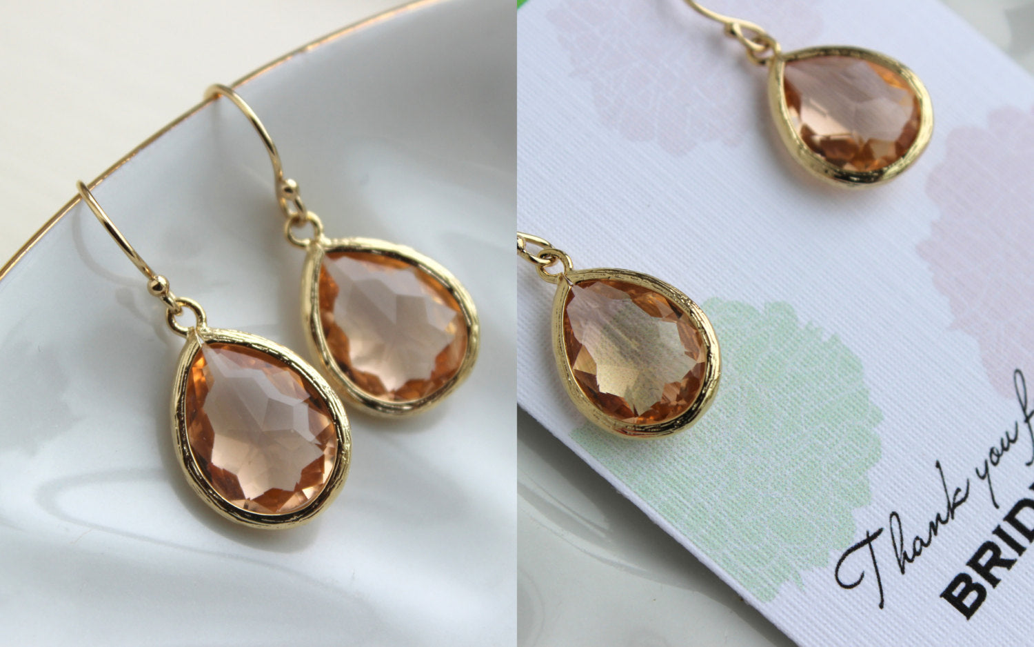 Gold Blush Earrings Champagne Peach Pink Teardrop Wedding Jewelry Blush Bridesmaid Earrings Peach Bridal Jewelry Personalized Gift Under 25