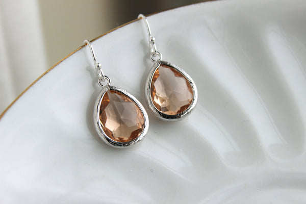 Silver Blush Earrings Champagne Peach Pink Teardrop Wedding Jewelry Blush Bridesmaid Earrings Bridal Jewelry Personalized Gift Under 25