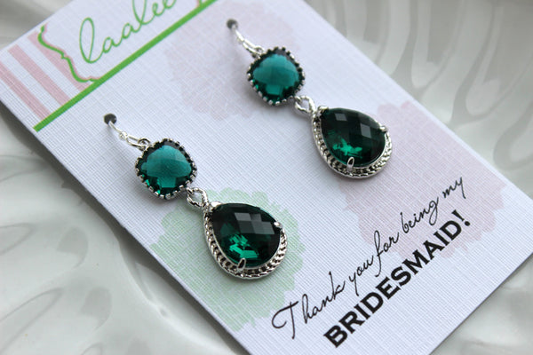 Silver Emerald Green Earrings Two Tiered - Emerald Wedding Jewelry - Dark Green Bridesmaid Earrings Gift Bridal Jewelry - Gift Under 35