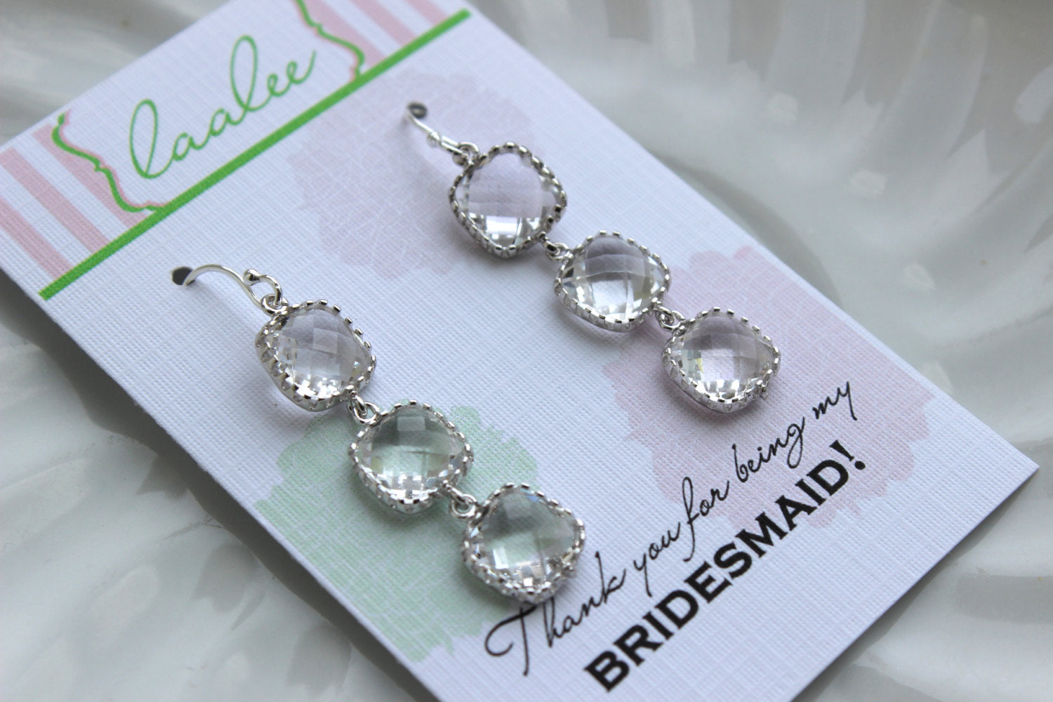 Square Silver Crystal Earrings Wedding Jewelry Crystal Clear Bridesmaid Earrings Bridesmaid Gift Bridal Jewelry Personalized Thank You Note