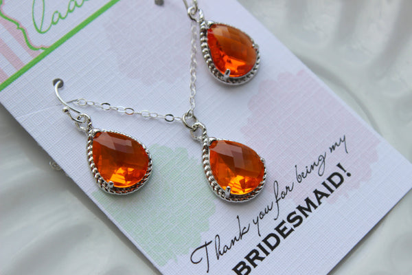 Silver Burnt Orange Jewelry Set - Amber Earring Necklace Set - Wedding Jewelry Bridesmaid Gift Bridal Jewelry Set Personalized Note Card