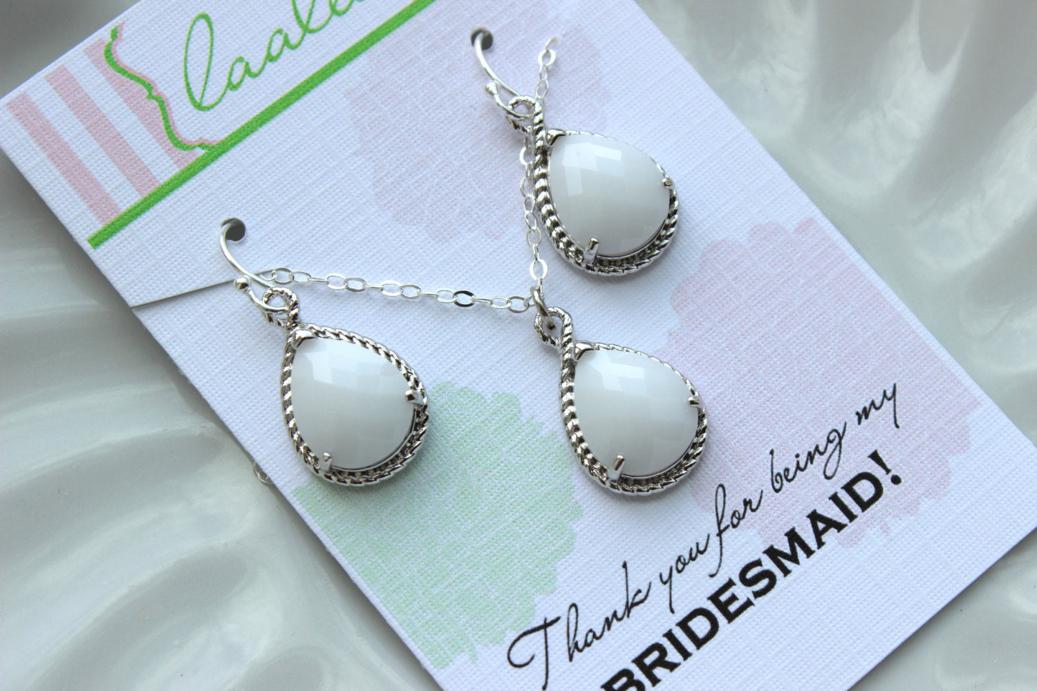 Silver White Opal Jewelry Set - Ivory Cream Earring Necklace Set - Wedding Jewelry Bridesmaid Gift Bridal Jewelry Set Personalized Note Card