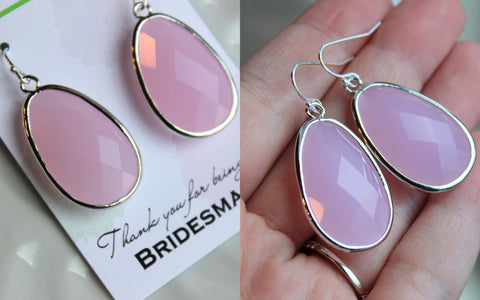 Large Blush Pink Earrings Silver Pink Opal Jewelry - Light Pink Wedding Jewelry - Silver Pink Bridal Jewelry Blush Bridesmaid Gift Under 35