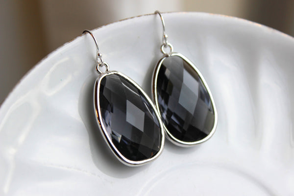 Large Silver Gray Earrings Charcoal Jewelry Teardrop Glass Bridesmaid Earrings Wedding Earrings Jewelry Charcoal Gray Bridesmaid Jewel