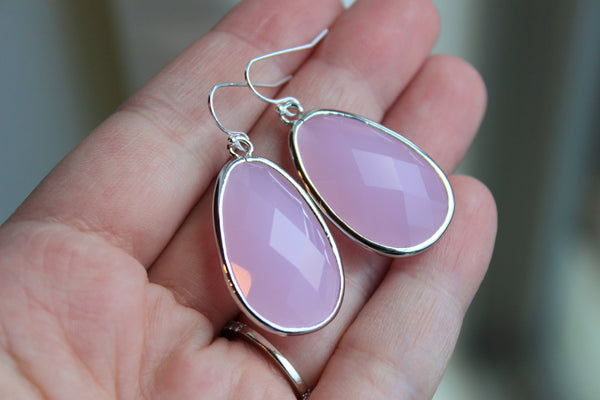 Large Silver Pink Opal Earrings Pink Jewelry Teardrop Glass Bridesmaid Earrings Wedding Earrings Jewelry Opal Pink Bridesmaid Jewelry