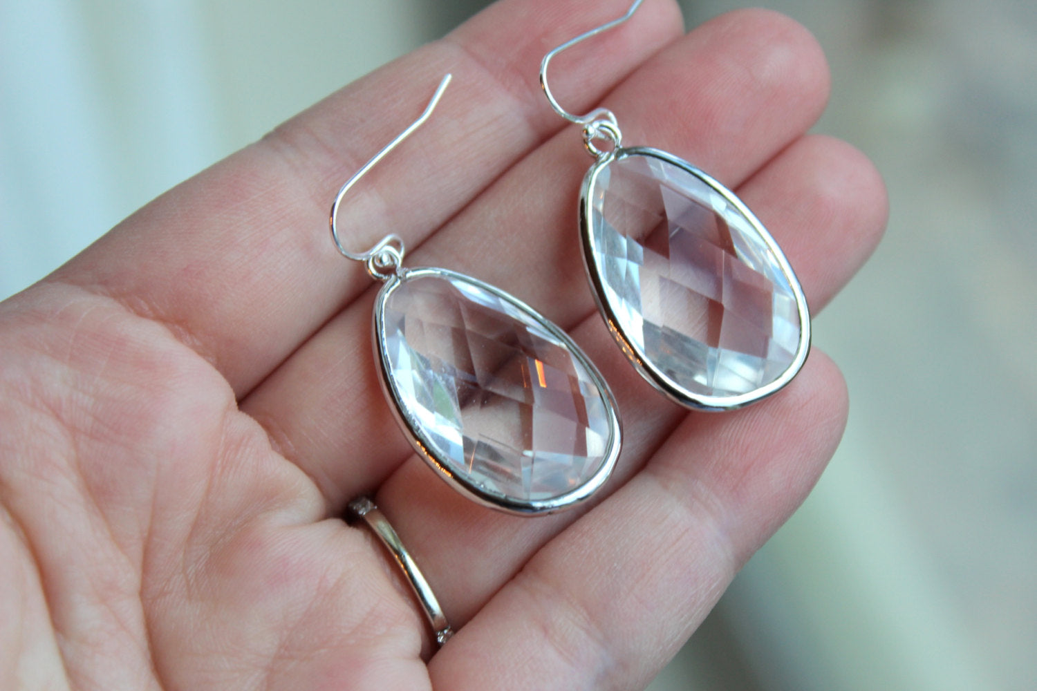 Large Silver Crystal Earrings Clear Jewelry Teardrop Glass Bridesmaid Earrings Wedding Earrings Jewelry CZ Crystal Bridesmaid Jewelry