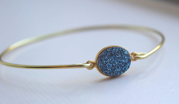 Gold Blue Druzy Bangle Bracelet - Blue Druzy Bangle - Druzy Jewelry Stackable Bangle - Druzy Christmas Gift Under 20 - Drusy Bangle
