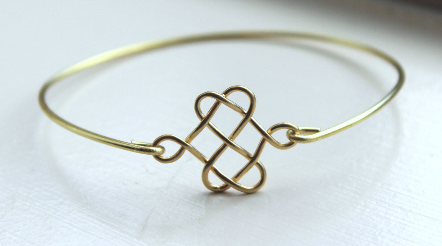 Gold Celtic Bangle Celtic Bracelet Gold Knot Charm - Stackable Bangle Charm Bracelet - Bridesmaid Gift - Gift under 15