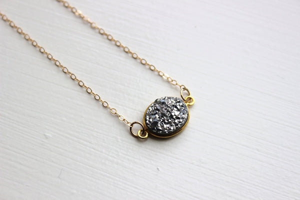 Gold Silver Druzy Necklace Natural Druzy Jewelry - Silver Drusy Necklace Druzy Christmas Gift Under 20 Necklace Statement Jewelry