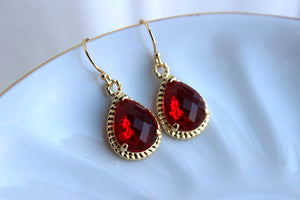 Gold Garnet Earrings Ruby Red Jewelry - Gold Red Bridesmaid Earrings - Garnet Wedding Jewelry - Gold Garnet Red Bridal Accessories