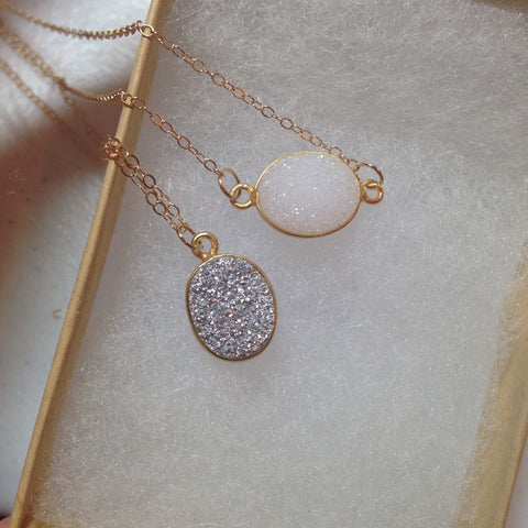 As seen on Instagram - Silver Druzy Necklace and White Druzy Necklace - 14k gold filled chain