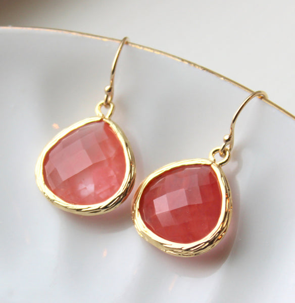 Large Coral Earrings Gold Plated Large Coral Pink Pendant - Wedding Earrings - Bridal Earrings - Bridesmaid Earrings - Coral Jewelry