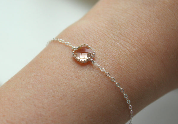 Dainty Blush Champagne Bracelet Square Silver Plated Peach Bracelet - Bridesmaid Bracelet - Bridal Bracelet Blush Champagne Wedding Jewelry