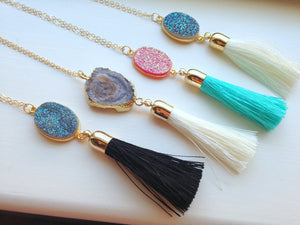 Gold Tassel Necklace Drusy Jewelry Drusy Necklace - Tassel Druzy Necklace - Turquoise Cream Black Tassel Layering Statement Necklace Jewelry