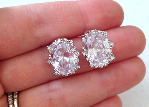 Silver Crystal Earrings CZ Oval Stud Earrings - Crystal Clear Bridal Jewelry - Bridal Accessories - Crystal Wedding Jewelry Bridesmaid Gift