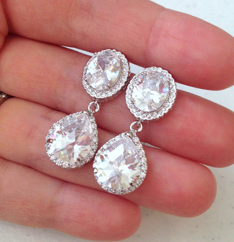 Silver Crystal Round Stud Earrings CZ Teardrop Bridal Jewelry - Clear Bridal Earrings - Bridal Accessories Wedding Jewelry Bridesmaid Gift