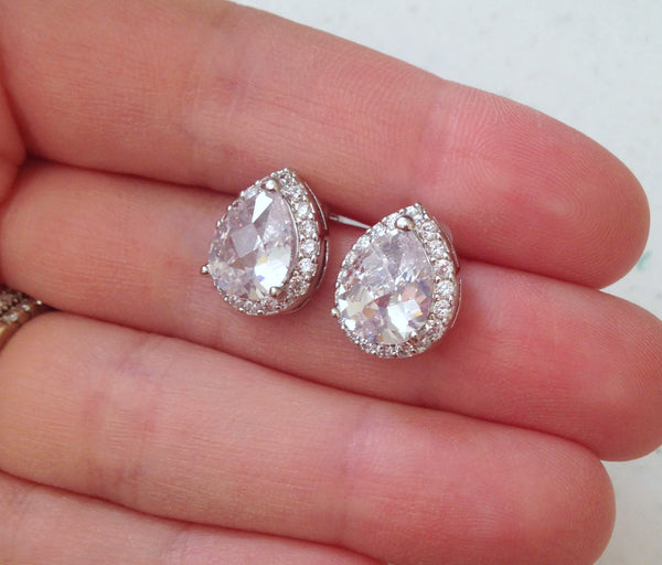 Silver Crystal Stud Earrings Teardrop Clear Jewelry - Bridesmaid Earrings Bridal Earrings Wedding Earrings Bridesmaid Jewelry Wedding