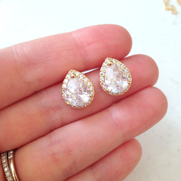 Gold Crystal Stud Earrings Teardrop Clear Jewelry - Bridesmaid Earrings Bridal Earrings Wedding Earrings Bridesmaid Jewelry Wedding