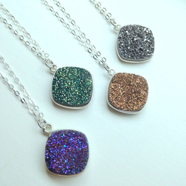 Silver Druzy Necklace Natural Druzy Jewelry - Drusy Necklace Jewelry - Green Purple Gold Gray Druzy Layering Necklace Statement Jewelry