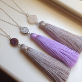 Sterling Silver Druzy Tassel Necklaces - Purple Gray Jewelry - Tassel Drusy Jewelry - Silver Druzy Jewelry - Christmas Gift