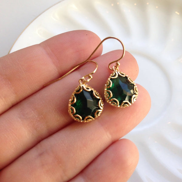 Gold Emerald Green Earrings - Pear Shape with Gold Design - Bridesmaid Earrings - Wedding Earrings - Valentines Day Gift
