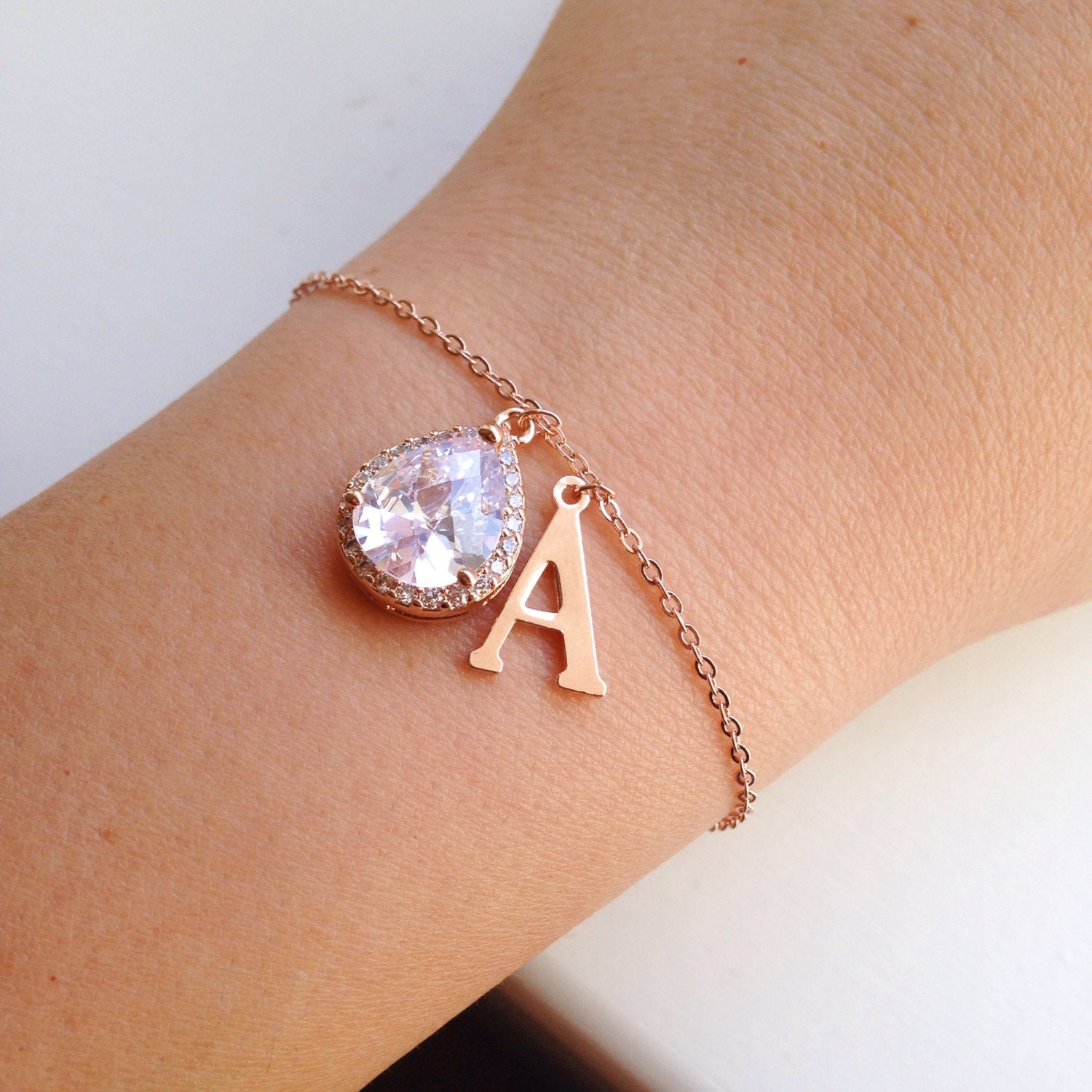 Large Rose Gold Initial Bracelet - Rose Gold CZ Jewelry - Clear Crystal Bracelet - Bridal Jewelry - Bridesmaid Jewelry - Wedding Bracelet