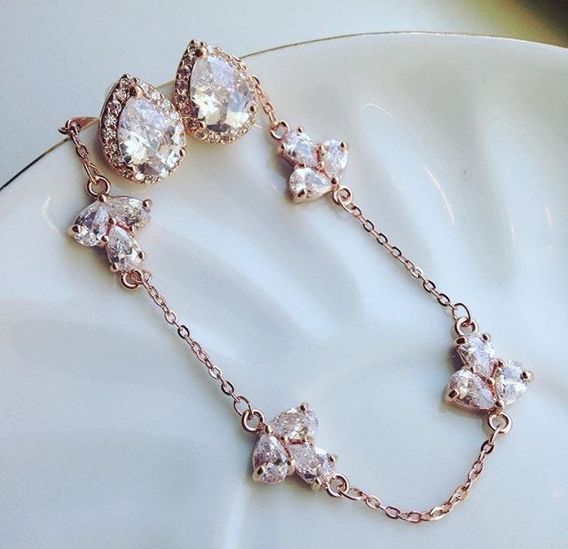 Rose Gold Crystal Earrings and Bracelet Set - Rose Gold Clear CZ Jewelry Set - Rose Gold Studs - Bridal Jewelry - Bridesmaid Jewelry - Weddi