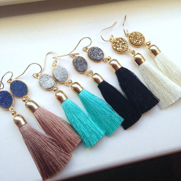 Gold Tassel Earrings Druzy Jewelry Drusy Earrings, Gold Druzy Earrings, Beauty Gift, Tassel Jewelry, Clothing Gift, Fringe Earrings,