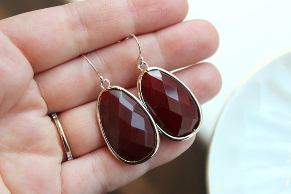 Large Silver Burgundy Earrings Maroon Jewelry Teardrop Glass Bridesmaid Earrings Wedding Earrings Jewelry Deep Wine Red Bridesmaid Jewelry