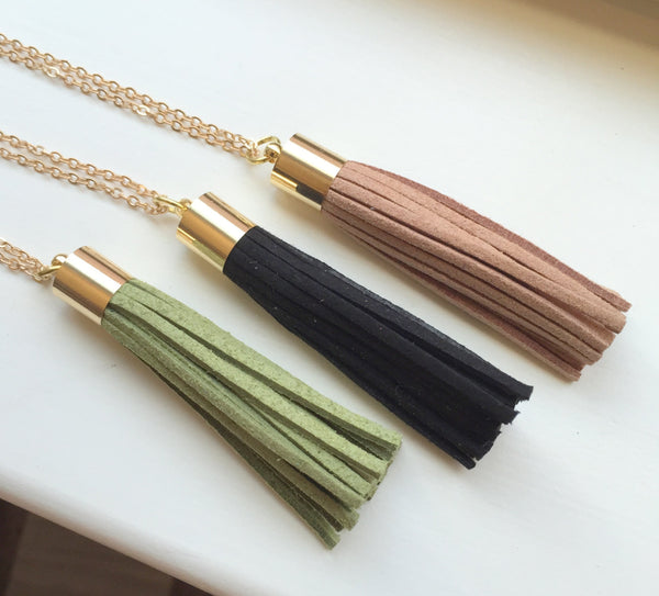Choose Color - Gold Leather Tassel Necklace Olive Green Black Taupe Fringe Necklace - Fringe Jewelry Layering Statement Necklace Jewelry