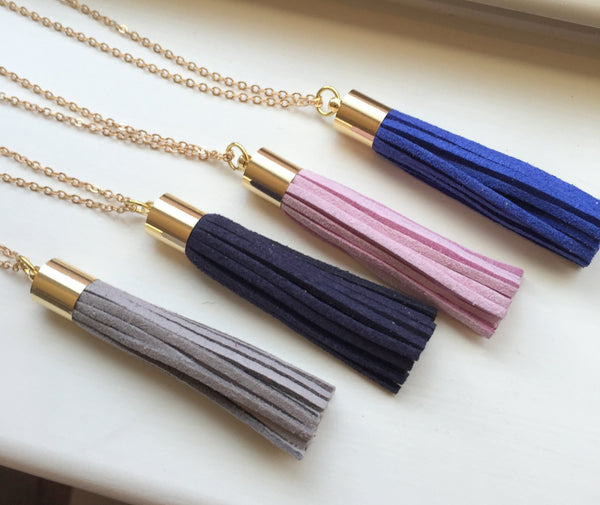 Choose Color Gold Leather Tassel Necklace Gray Navy Lavender Royal Blue Fringe Necklace - Fringe Jewelry Layering Statement Necklace Jewelry