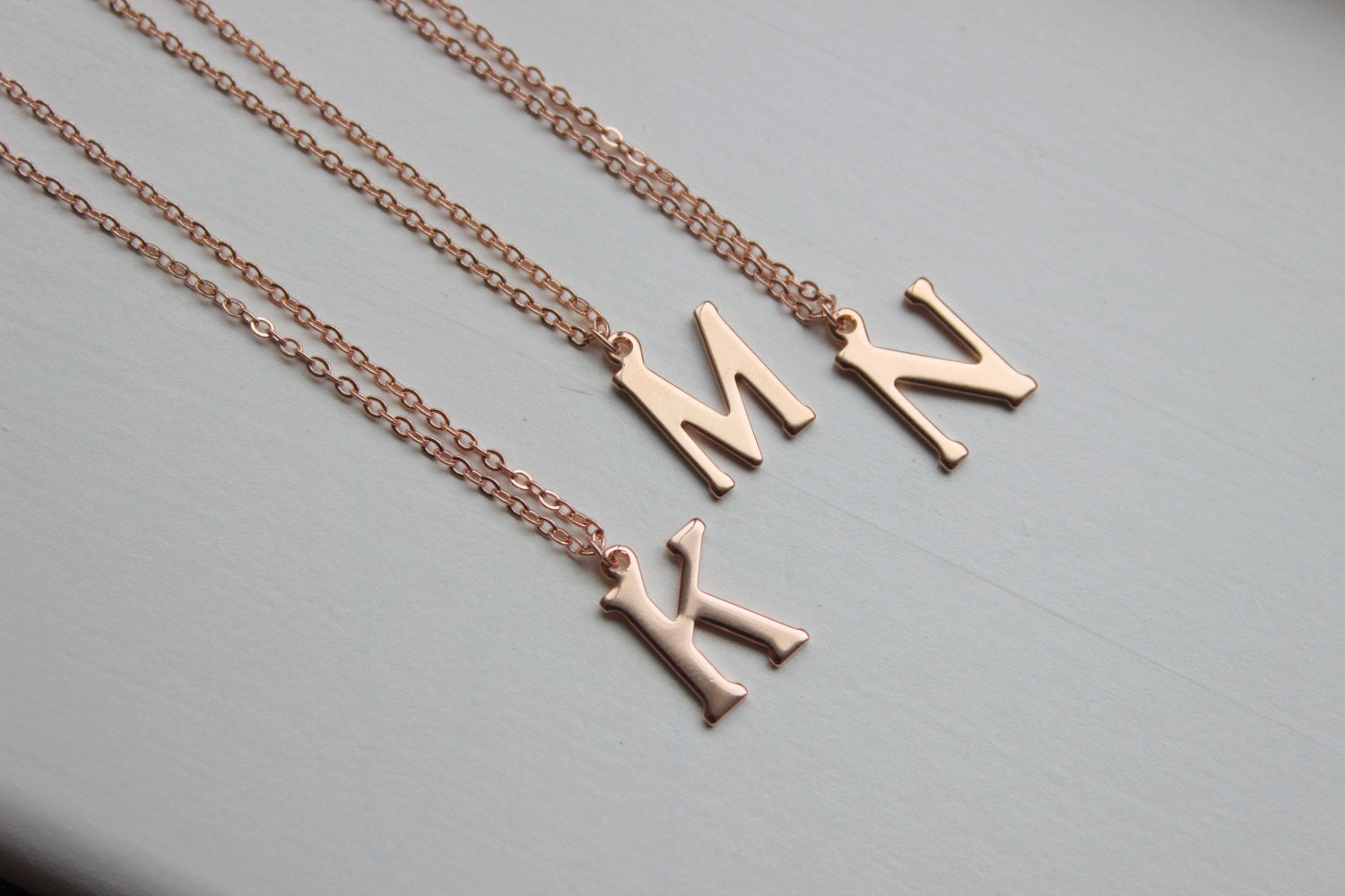 HOLIDAY SALE! Rose Gold Initial Necklace - Rose Gold Jewelry - Letter Monogram Necklace Bridesmaid Jewelry Wedding Jewelry - Christmas Gift
