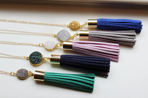 Choose Color Gold Leather Tassel Druzy Necklace - Green Drusy Fringe Necklace - White Fringe Jewelry Layering Statement Necklace Jewelry