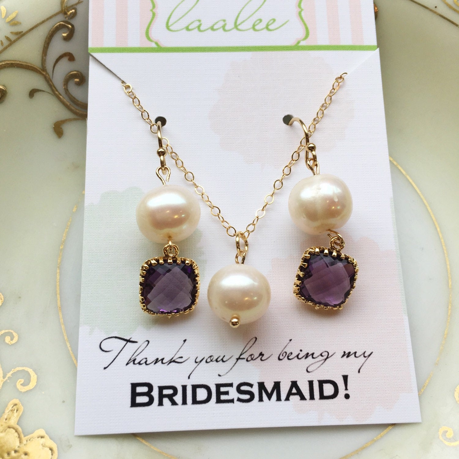 Amethyst Purple Freshwater Pearl Jewelry Set - Bridesmaid Jewelry - Wedding Necklace Earrings