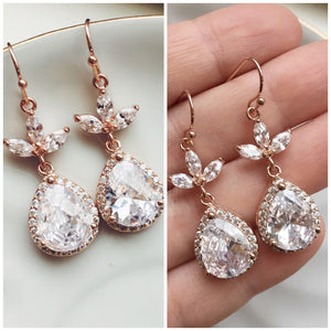 Rose Gold Two Tiered Crystal Bridal Earrings - Wedding Jewelry - Bridesmaid Gift