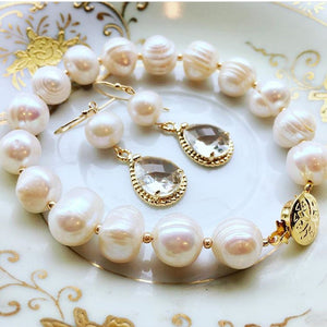 As seen on Instagram - Freshwater Pearl bracelet & Freshwater Pearl Earrings with Crystal Teardrop