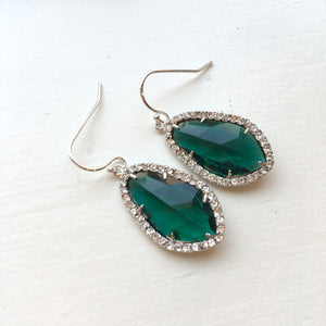 Wedding Jewelry Large Silver Emerald Green Earrings Crystal Clear Setting Green Jewelry - Bridesmaid Jewelry - Bridal Earrings