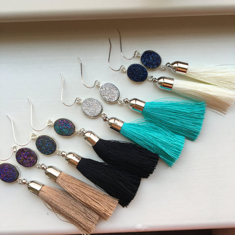 Silver Tassel Earrings Drusy Jewelry Drusy Earrings - Fringe Druzy Earrings - Christmas Gift Tassel Statement Jewelry - Gold Fringe Jewelry