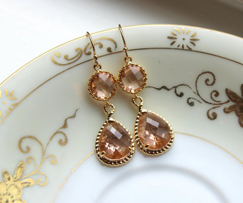 Blush Wedding Jewelry - Blush Champagne Earrings Peach Gold - Pink Blush Bridesmaid Jewelry - Teardrop Earrings - Gold Champagne Jewelry