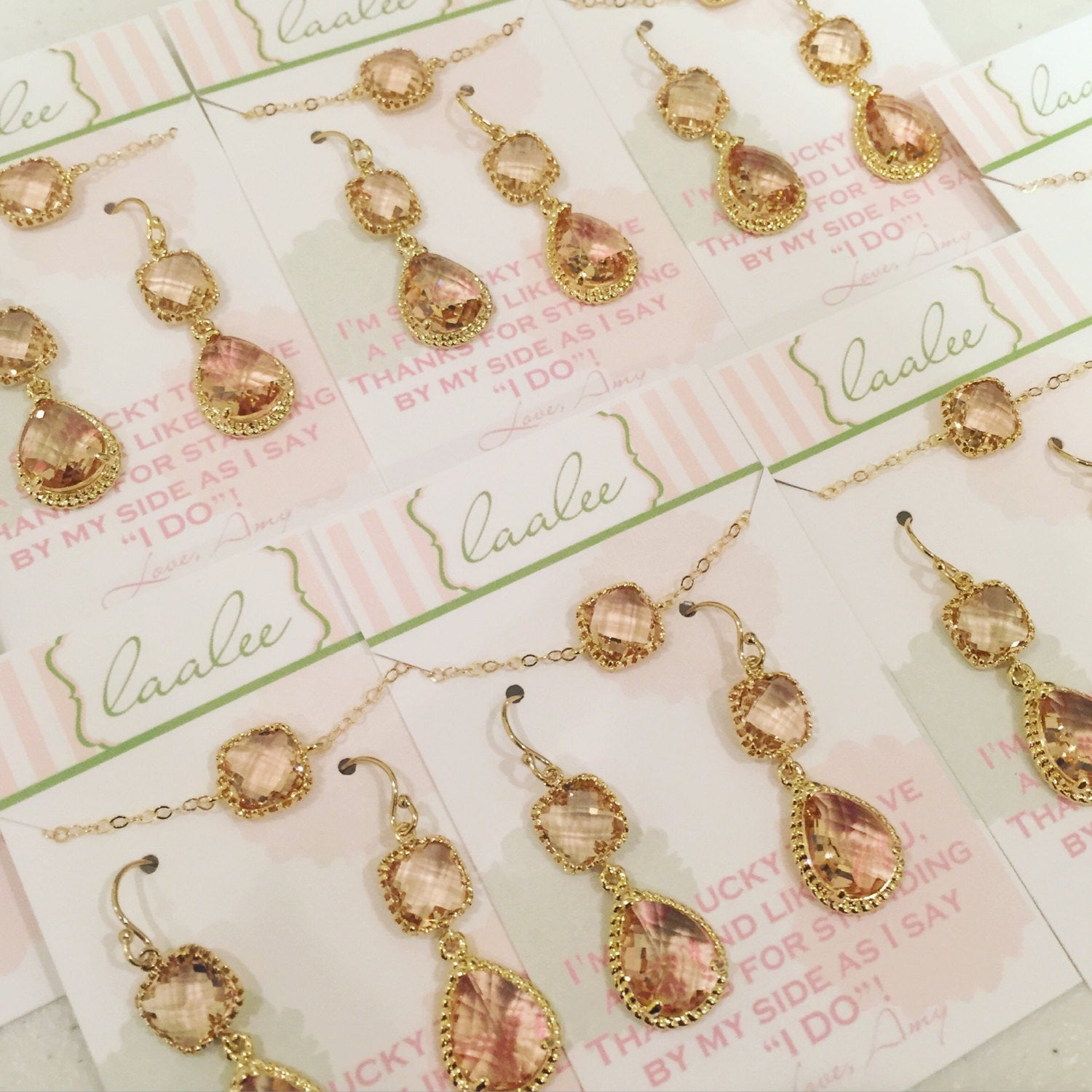 Champagne Earrings Bracelet Set - Champagne Blush Jewelry Set - Pink Gold Earrings - Peach Bridesmaid Jewelry